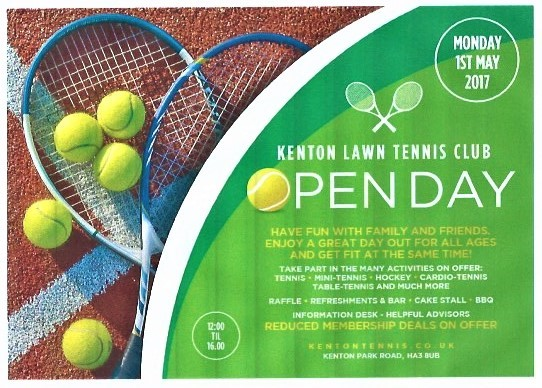 Kenton Sports Club Open Day Bank Holiday 1st May