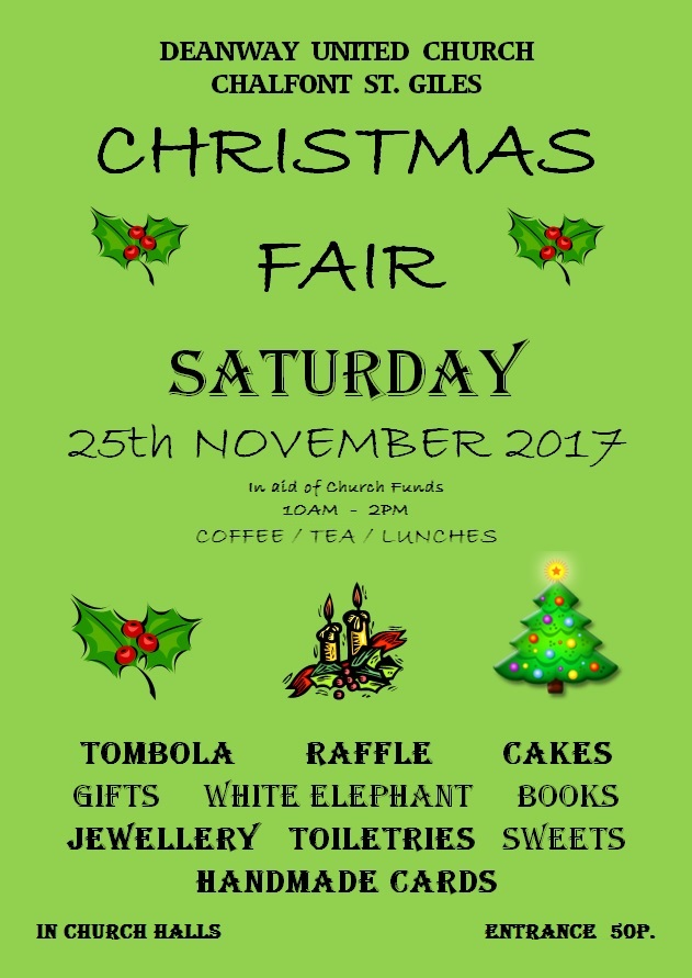 DEANWAY UNITED CHURCH CHRISTMAS FAIR