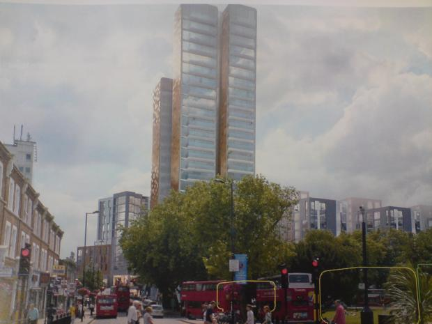 How the proposed tower would look from Madeley Road at the north end of Haven Green