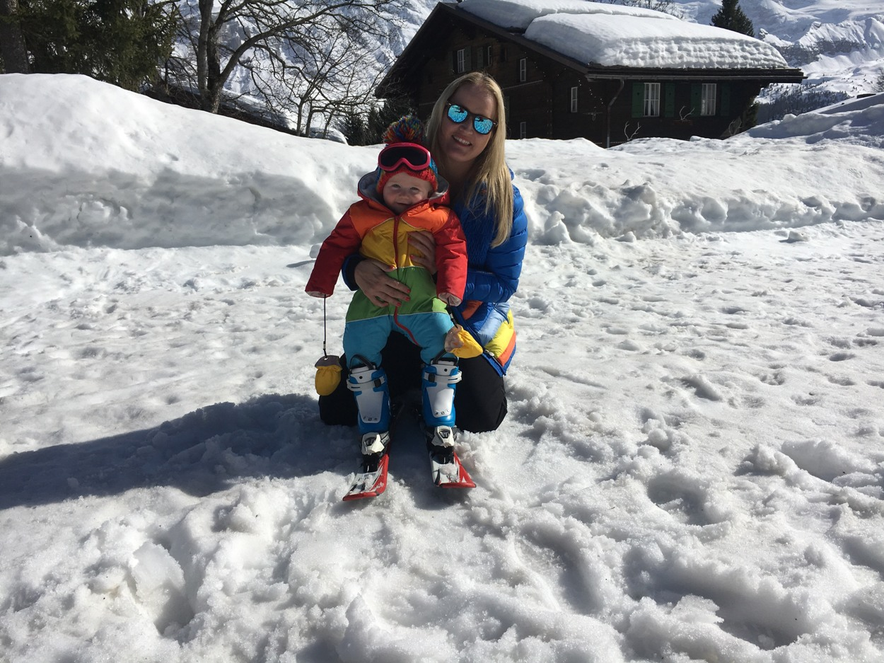 Family affair: Lizzie on the slopes