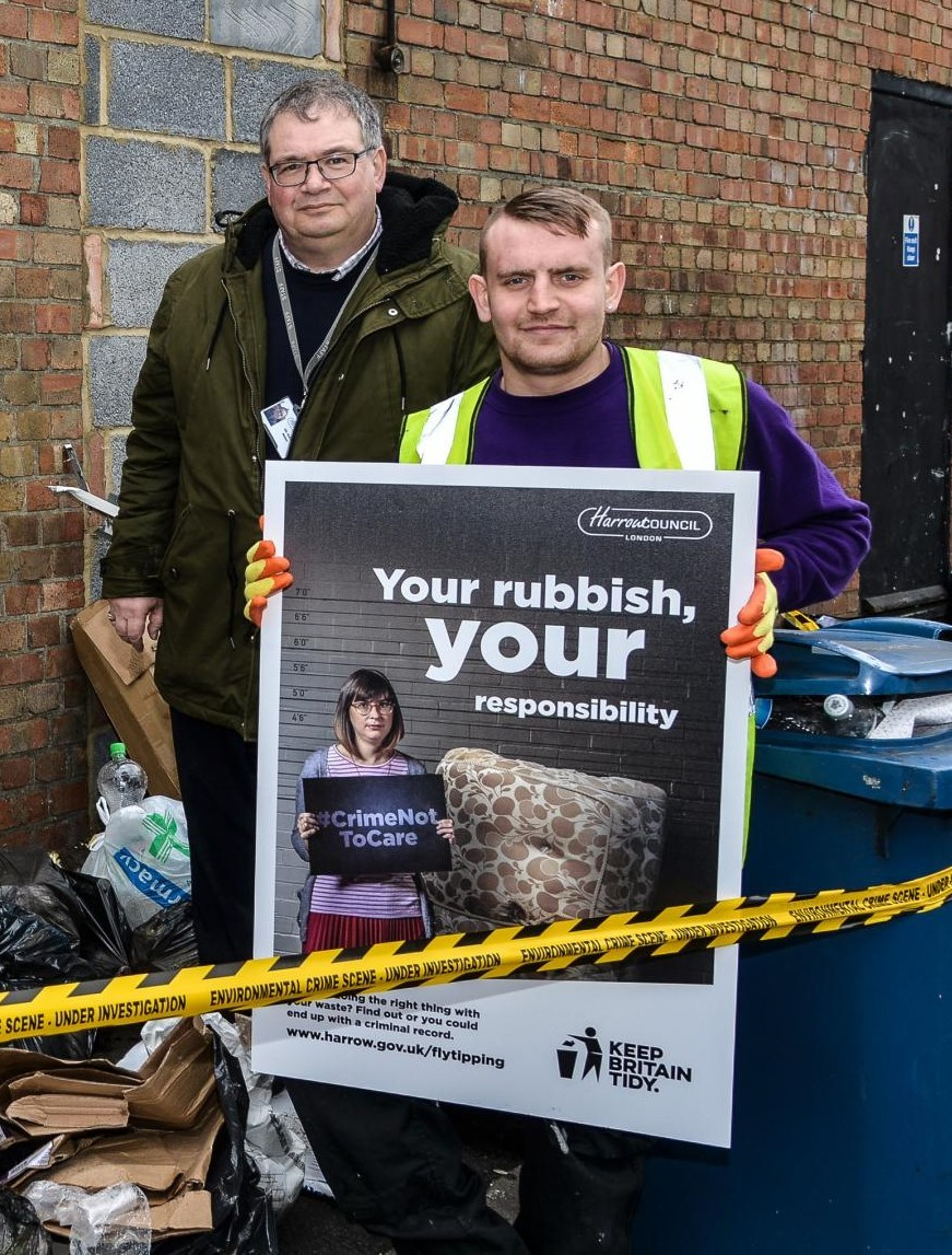 Cllr Graham Henson (L) during his stint as portfolio holder for the environment