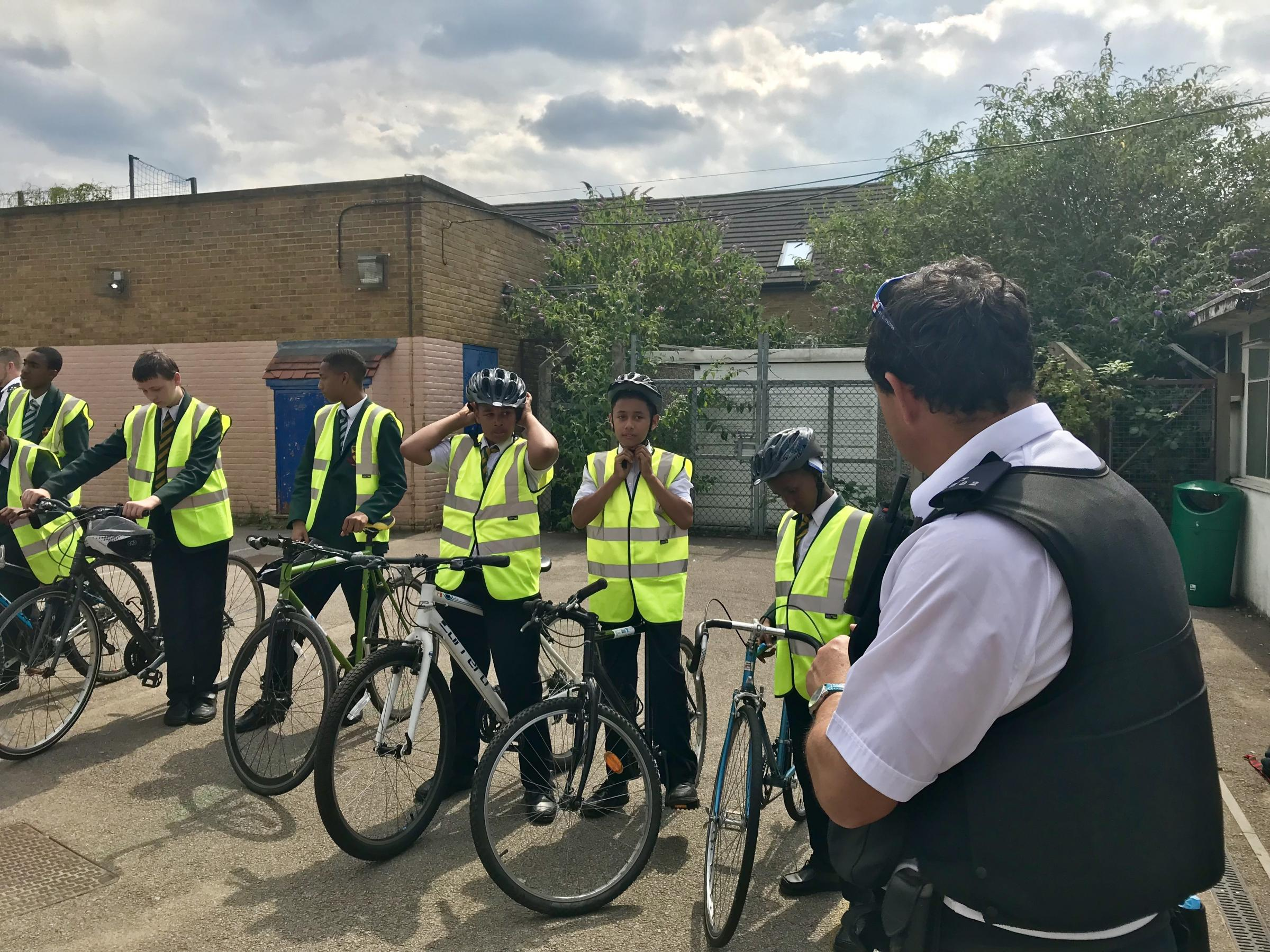Pupils at Newman Catholic College take part in a cycling safety demonstration