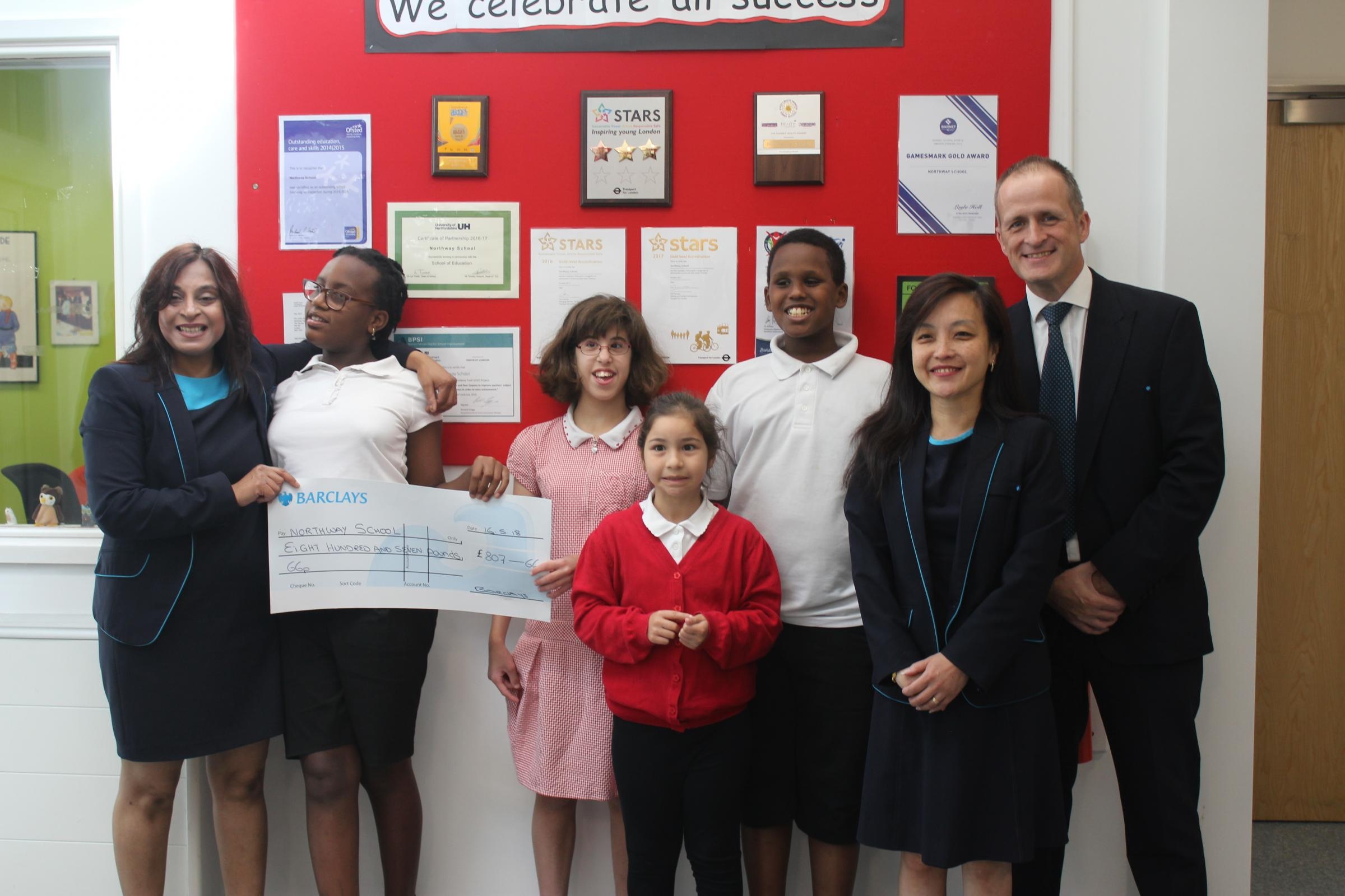 Barclays staff with pupils from Northway School