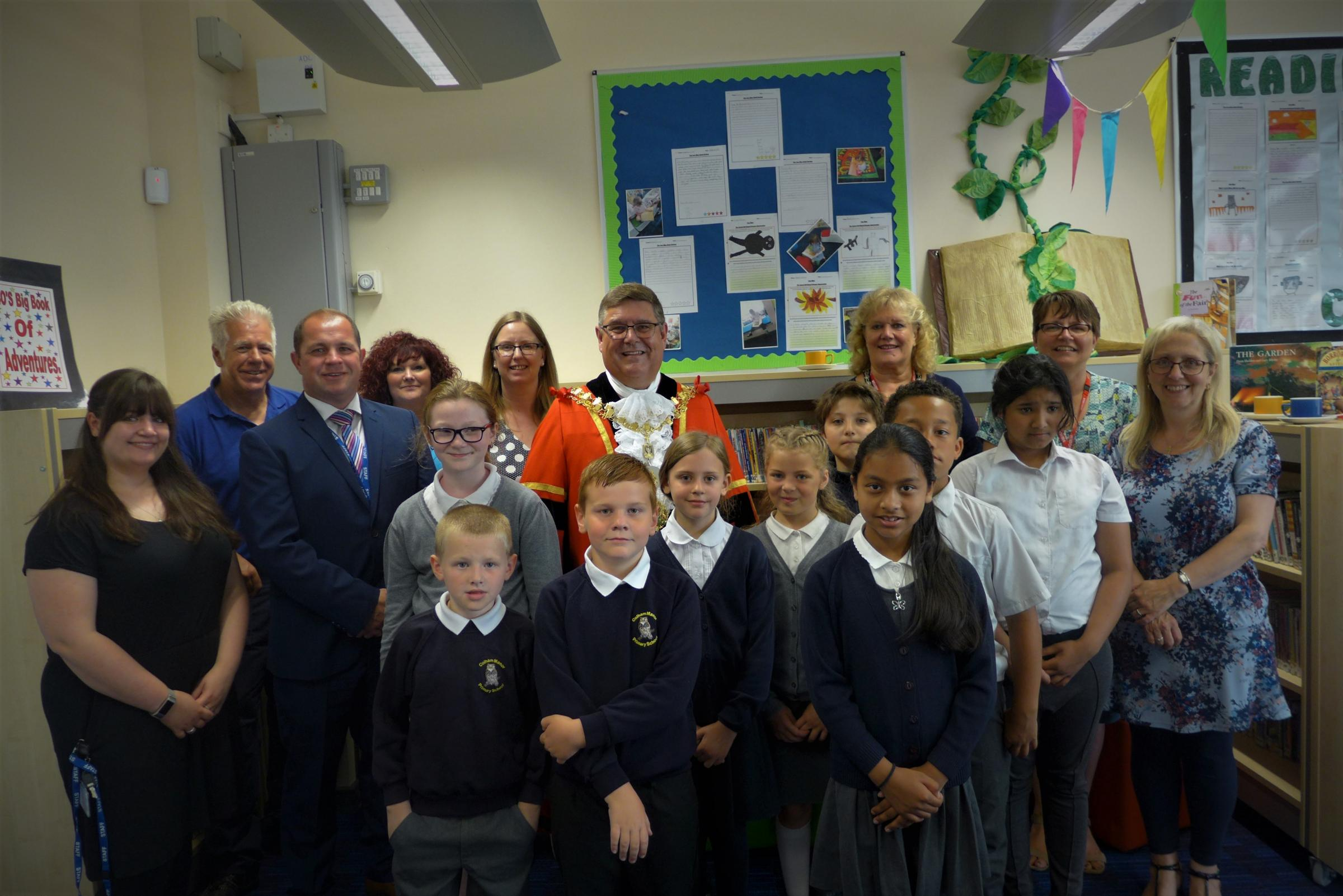 Students and staff at Colham Manor Primary School with Councillor John Morgan, the Mayor of Hillingdon