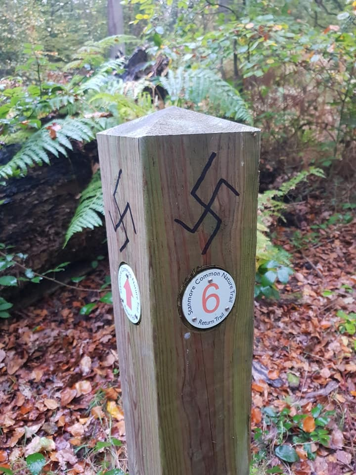 Nazi graffiti was found on a trail post in Stanmore Common (Image: Paolo Arrigo)