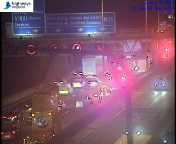 On the M25 near the crash scene. Picture: Highways England