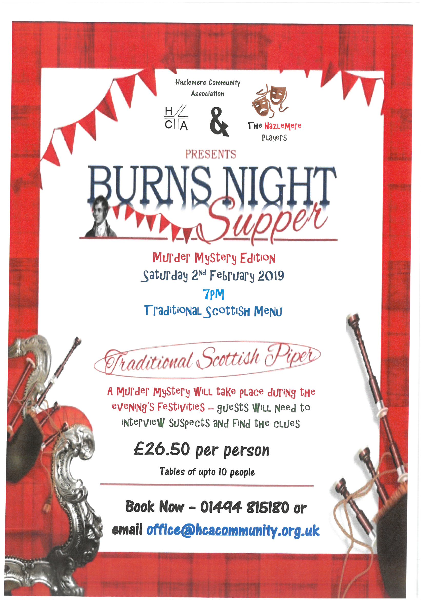 Burns Night Supper &  Murder Mystery dinner