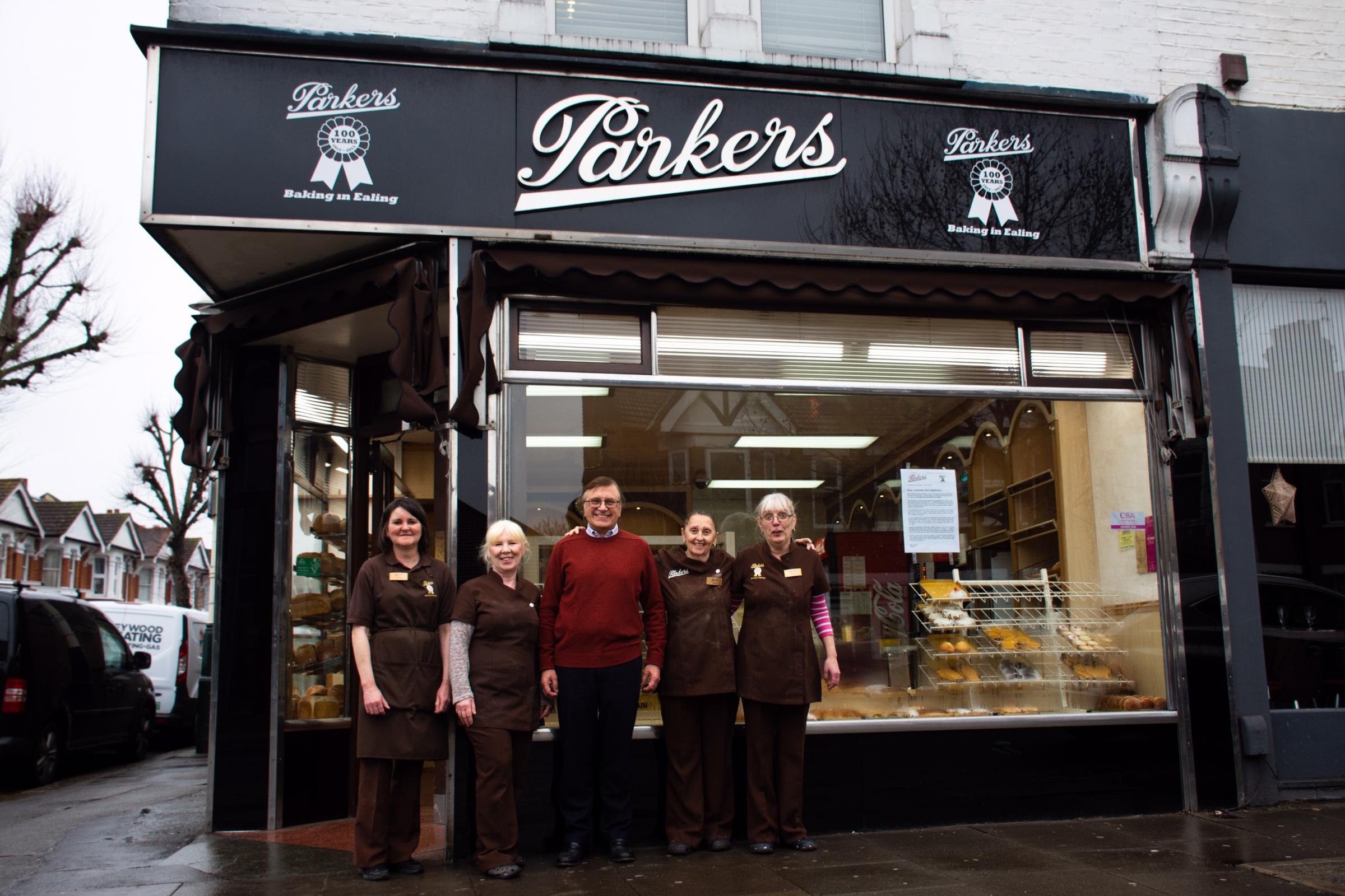 Parkers owner Brian Davis alongside his bakery staff members, (from left to right) Sylvia Kevan, Christine Fletcher, Jackie Keenan and Jackie Greenaway. Between them, the women have worked 52 years for the bakery (Picture: Roisín Savage)